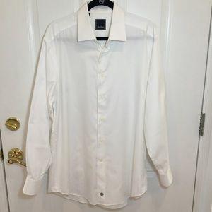 David Donahue   White Button Up Dress Shirt Large